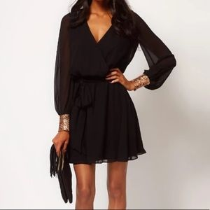 ASOS black mini dress with gold sequin cuffs